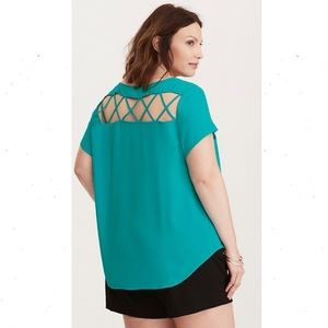 Torrid Georgette Cage Back Cutout Blouse 4X Teal